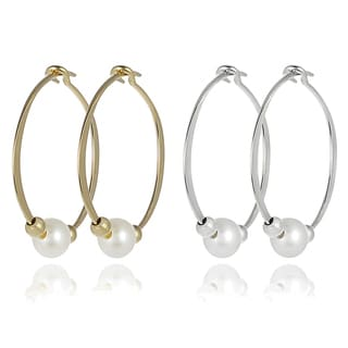 Journee Collection Sterling Silver Faux Pearl Earrings