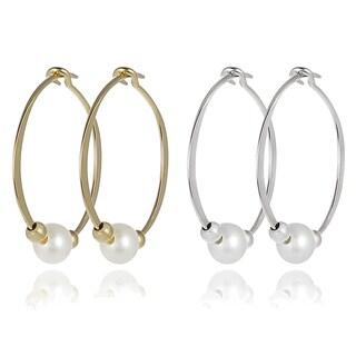 Journee Collection Sterling Silver Faux Pearl Earrings