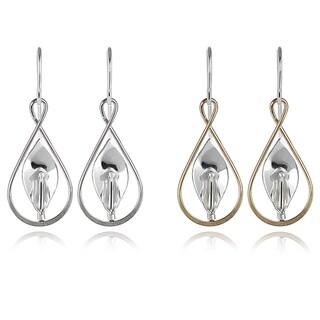 Journee Collection Sterling Silver Flower Twist Hoop Earrings