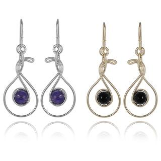 Journee Collection Sterling Silver Enamal Drop Earrings
