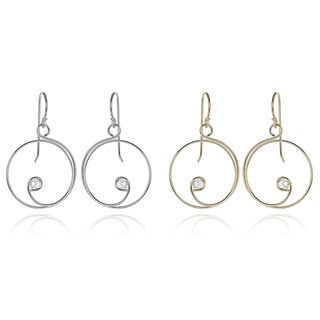 Journee Collection Sterling Silver Cubic Zirconia Spiral Dangle Earrings
