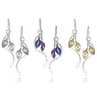 Journee Collection Sterling Silver Calla Lily Dangle Earrings