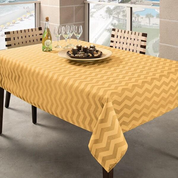 Benson Mills Yellow Zig Zag Indoor/ Outdoor Tablecloth