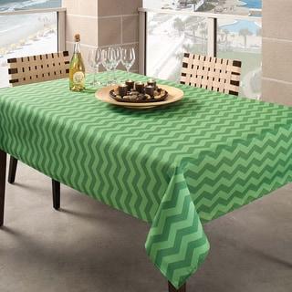 Benson Mills Green Zig Zag Indoor/ Outdoor Tablecloth