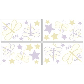 Sweet JoJo Designs Purple Dragonfly Dreams Wall Decal Stickers