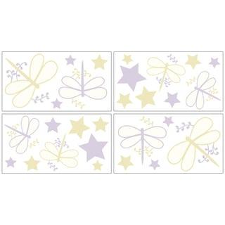 Sweet JoJo Designs Purple Dragonfly Dreams Wall Decal Stickers