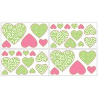 Sweet Jojo Designs Olivia Pink Green and White Damask Heart Peel and Stick Wall Decal Stickers Art Nursery Decor (Set of 4)