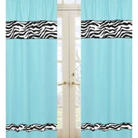 Sweet Jojo Designs Turquoise, Black and White 84-inch Window Treatment Curtain Panel Pair for Turquoise Funky Zebra Collection