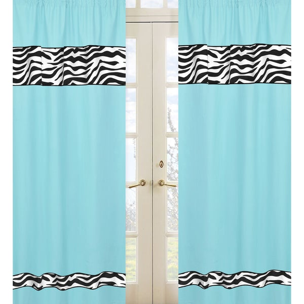 Sweet Jojo Designs Turquoise Black And White 84 Inch Window Treatment Curtain Panel Pair For