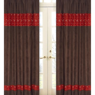 Sweet Jojo Designs Chocolate Brown, Red and Cream 84-inch Window Treatment Curtain Panel Pair for Wild West Collection - 42 x 84