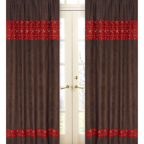 Sweet Jojo Designs Chocolate Brown, Red and Cream 84-inch Window Treatment Curtain Panel Pair for Wild West Collection