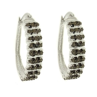 Finesque Silver Overlay Black Diamond Accent 'S' Elongated Hoop Earrings