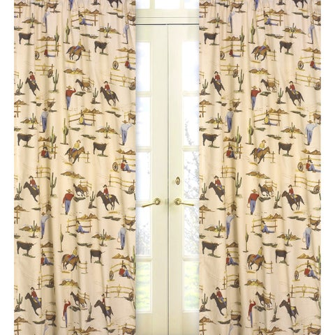 Sweet Jojo Designs Brown, Red, Cream, Blue, Green and Gold 84-inch Window Treatment Curtain Panel Pair for Wild West Collection