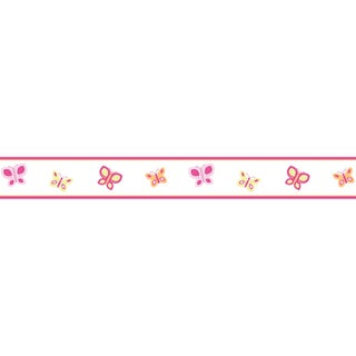Sweet JoJo Designs Pink and Orange Butterfly Wall Border