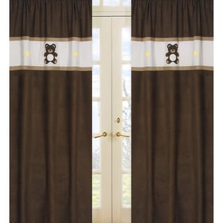 Sweet Jojo Designs Chocolate, Brown and Cream 84-inch Window Treatment Curtain Panel Pair for Chocolate Teddy Bear Collection