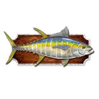 Jeff Currier 'Mounted Yellow fin Tuna' Metal Wall Sculpture