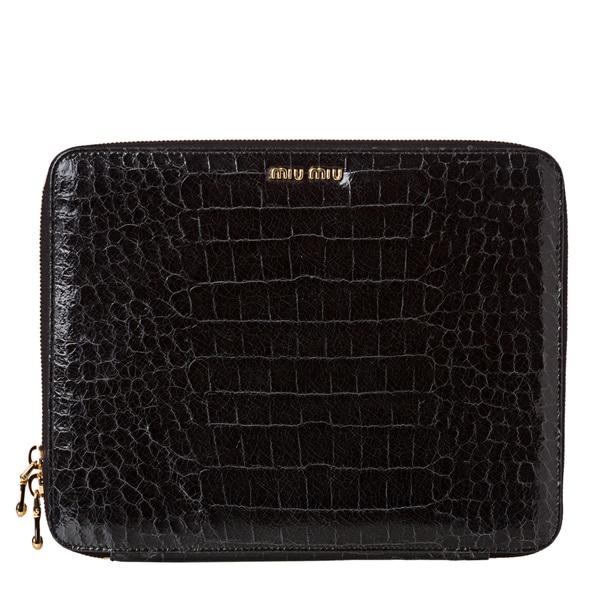 Miu Miu Women's 'St. Cocco Lux' Croc Embossed Leather iPad Case