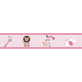 Sweet JoJo Designs Pink and Brown Jungle Friends Wall Border