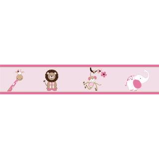 Sweet JoJo Designs Pink and Brown Jungle Friends Wall Border