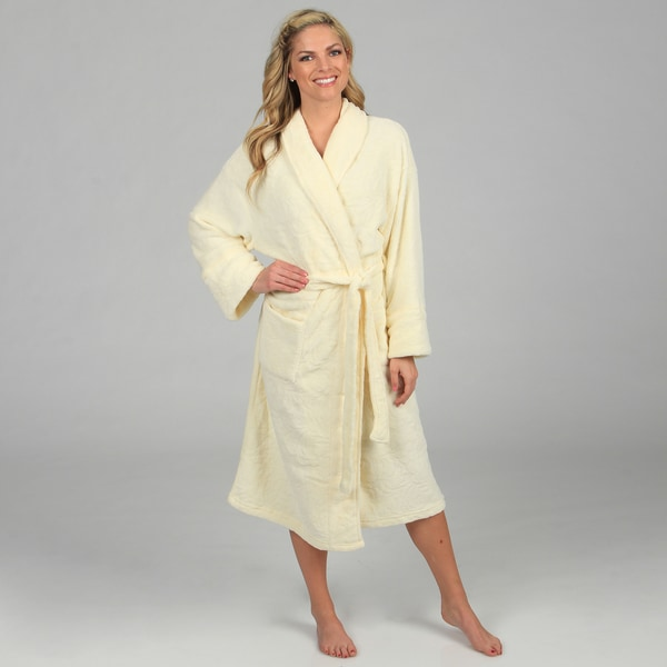Aegean Apparel Women's Cream Embossed Plush Robe