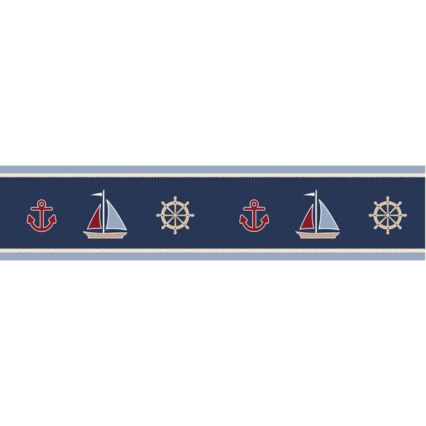 Sweet JoJo Designs Nautical Nights Sailboat Wall Border