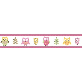 Sweet JoJo Designs Pink Happy Owl Wall Border