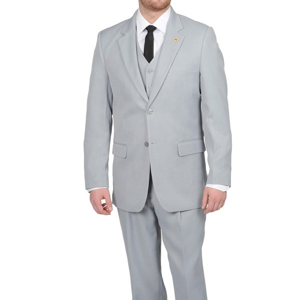 Stacy Adams Mens Silver Two-button Vested Suit