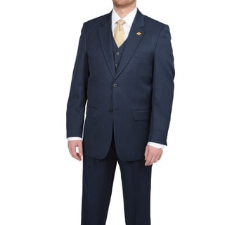 Stacy Adams Men's Navy Notch Collar Vested Suit