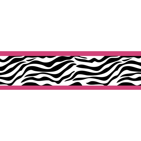Sweet JoJo Designs Pink Funky Zebra Wall Border
