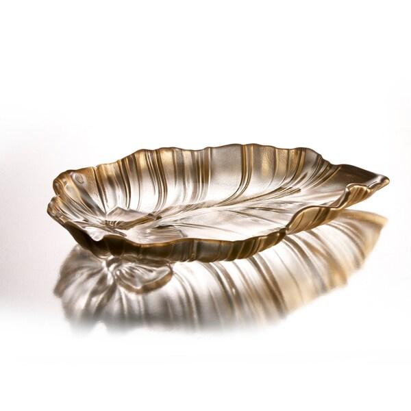 Fifth Avenue Crystal Venezia Gold Leaf Platter