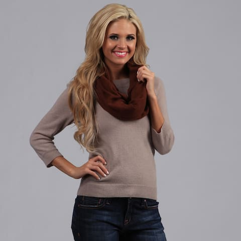 Peach Couture Auburn-Brown Cashmere Infinity Loop Scarf
