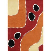 Alliyah Handmade Flame Orange New Zealand Blend Wool Rug - 5' x 8'