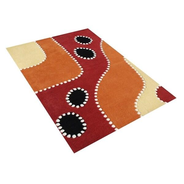 Alliyah Handmade Flame Orange New Zealand Blend Wool Rug (5 x 8) - 5' x 8'