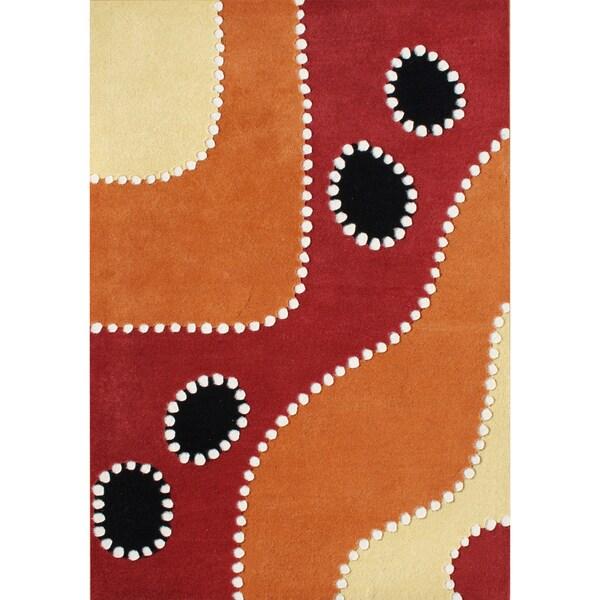 Alliyah Handmade Flame Orange New Zealand Blend Wool Rug (5 x 8)