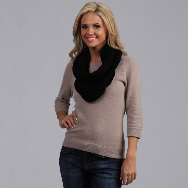Peach Couture Black Cashmere Infinity Loop Scarf. Opens flyout.