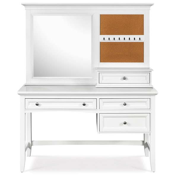 Magnussen 'Kenley' White 3-drawer Desk and Vanity Mirror Set