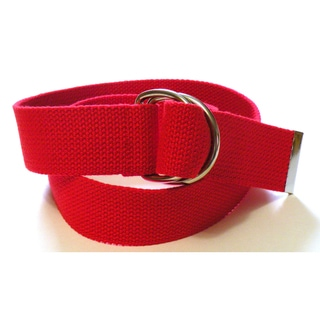 Red Canvas Double Hoop Belt