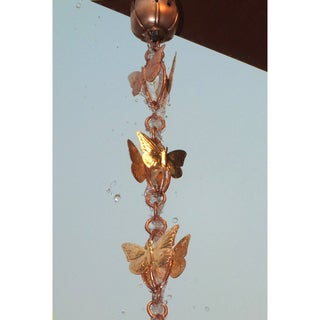 Monarch Pure Copper Cascading Butterfly Rain Chain 8.5 Ft Inclusive of Installation Hanger