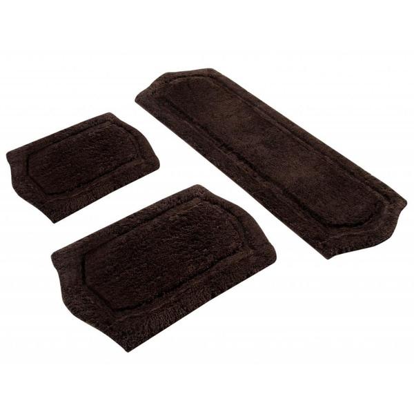 Chocolate Memory Foam 3-piece Bath Mat Set - includes BONUS step out mat