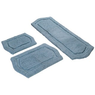 Spa Blue Memory Foam 3-piece Bath Mat Set - includes BONUS step out mat