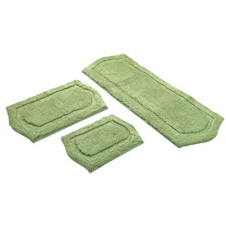 Sage Green  Memory Foam 3-piece Bath Mat Set - includes BONUS step out mat
