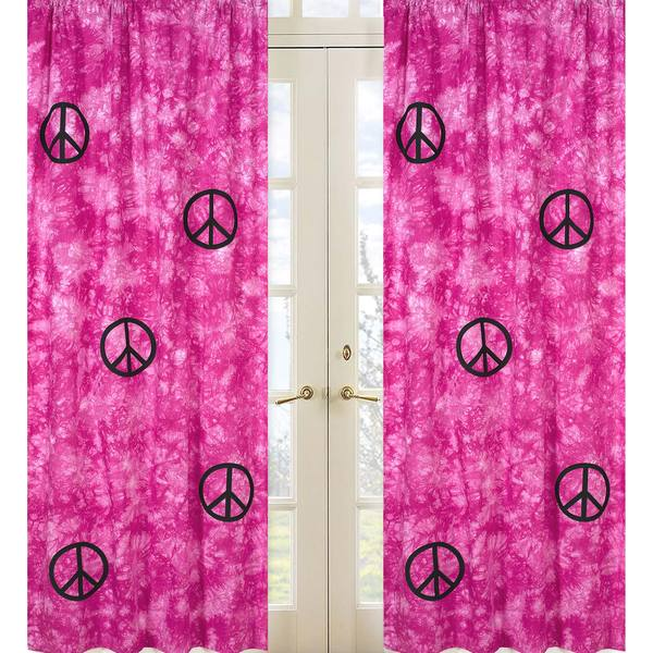 Groovy Pink Peace Sign Tie Dye 84-inch Curtain Panel Pair