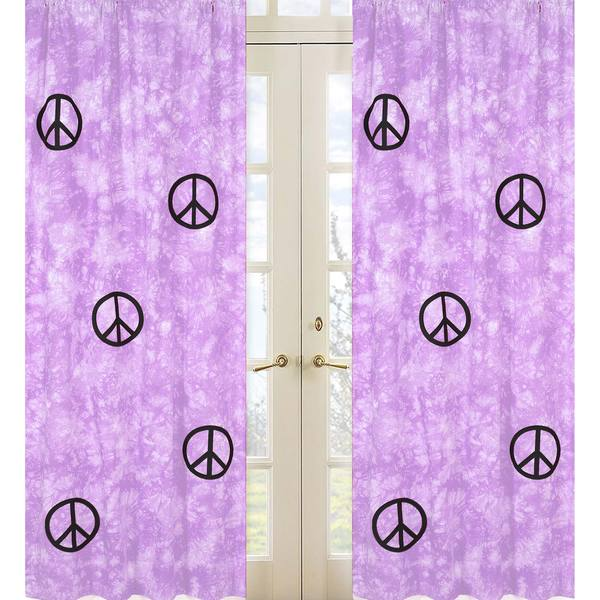 Groovy Purple Peace Sign Tie Dye 84-inch Curtain Panels Pair