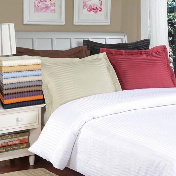 Superior Wrinkle Resistant Stripe Microfiber Duvet Cover Set