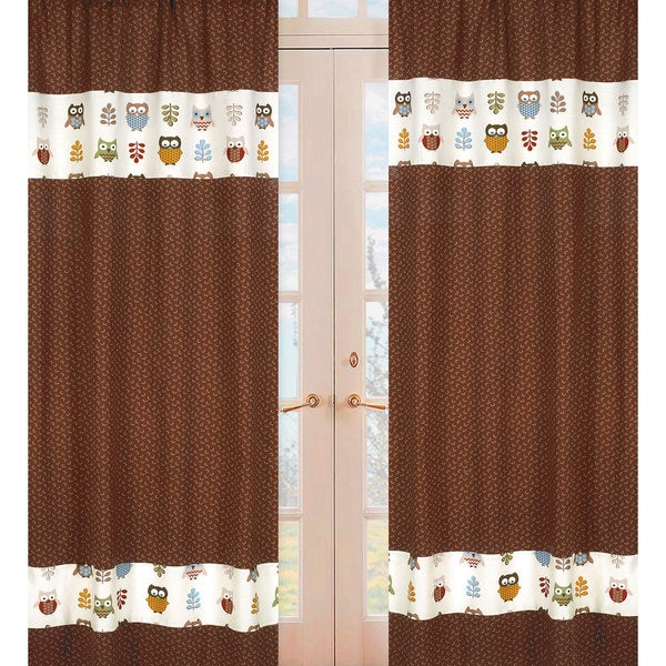 Sweet Jojo Designs Natural, Blue, Brown, Rust, Yellow, Taupe and Green Night Owl 84-inch Window Treatment Curtain Panel Pair