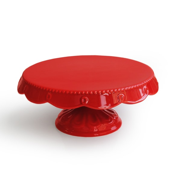 American Atelier Bianca Red Scalloped Pedestal Plate