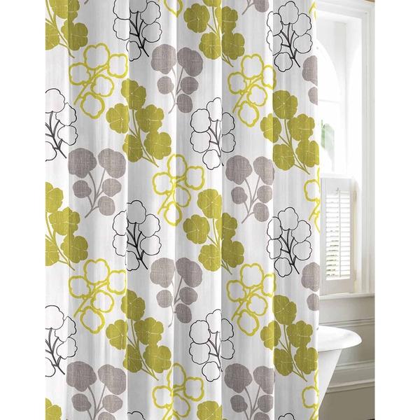 City Scene Pressed Flower Cotton Shower Curtain