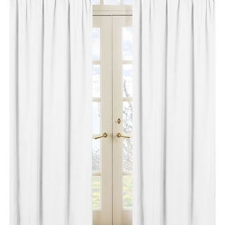 Sweet Jojo Designs White 84-inch Window Treatment Curtain Panel Pair for White Minky Dot Collection