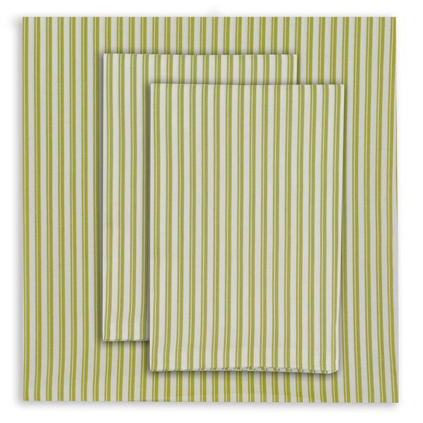 Oilo Twin-striped Spring Green Sheet Set