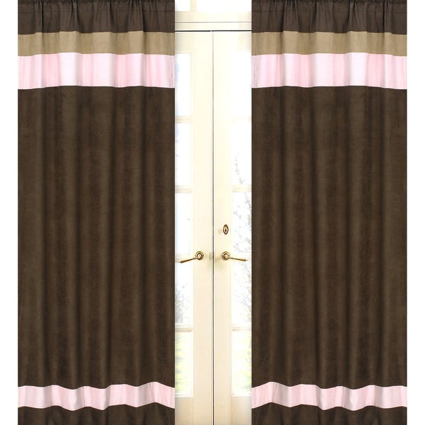 Sweet Jojo Designs Pink, Chocolate Brown and Camel 84-inch Window Treatment Curtain Panel Pair for Soho Collection